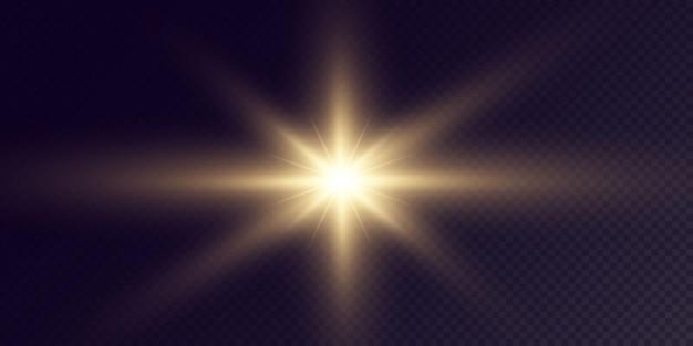 黒の背景に分離された輝く黄金の星お祭りセットライトスターレーザー抽象