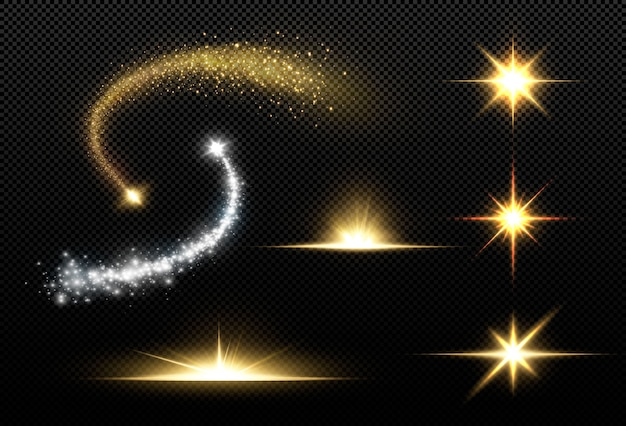 黒の背景に分離された輝く黄金の星。