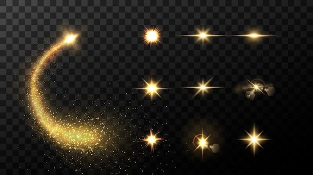 黒の背景に分離された輝く黄金の星
