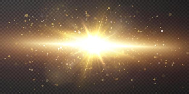 빛나는 황금 별 검은 배경에 고립.