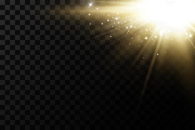 透明な背景に分離された輝く黄金の星