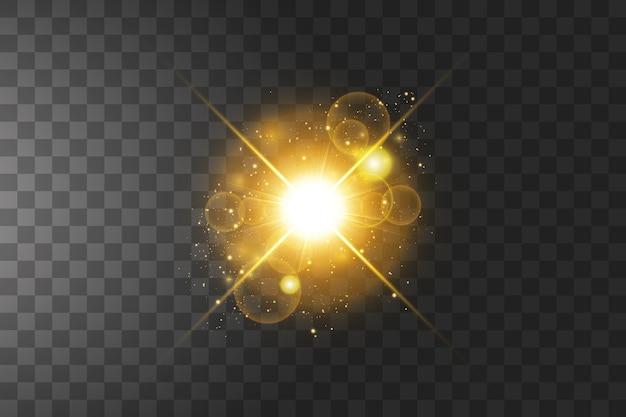 分離された輝く黄金の星