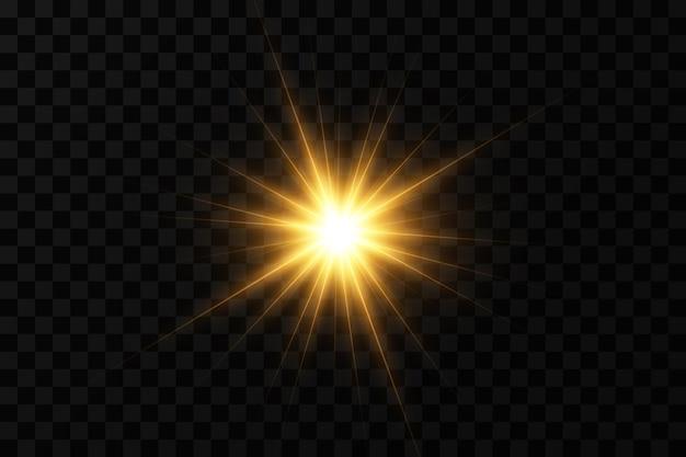 輝く黄金の星光の効果グレアキラキラ爆発黄金の光ベクトルイラスト Premiumベクター