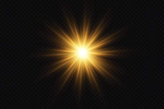 輝く黄金の星光の効果グレアキラキラ爆発黄金の光ベクトルイラスト