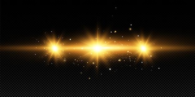 Сияющие золотые звезды на черном фоне. эффекты, блики, линии, блеск, взрыв, золотой свет. illustration.set.
