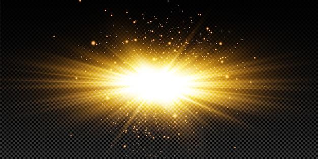 黒の背景に輝く黄金の星。エフェクト、グレア、ライン、グリッター、爆発、黄金色の光。図