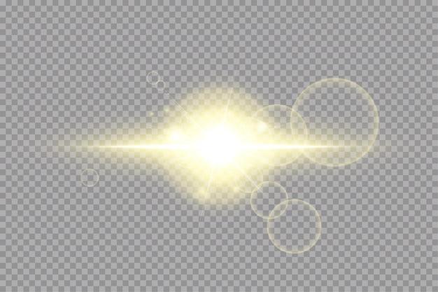 透明な背景に輝く黄金の星