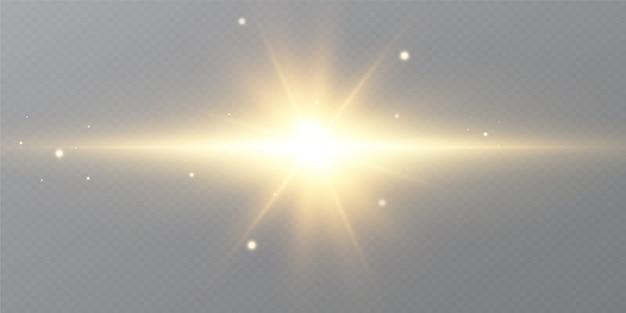輝く黄金の星、黒い背景に分離した太陽。エフェクト、グレア、ライン、グリッター、爆発、黄金の光。図