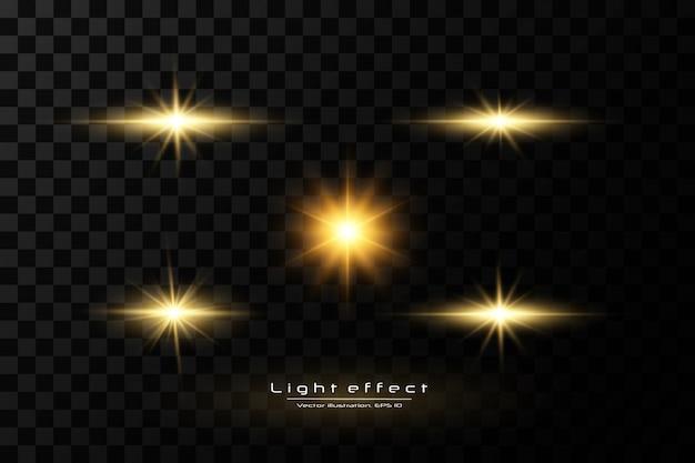 Сияющие золотые звезды, солнце на черном фоне. эффекты, блики, линии, блеск, взрыв, золотой свет. иллюстрация