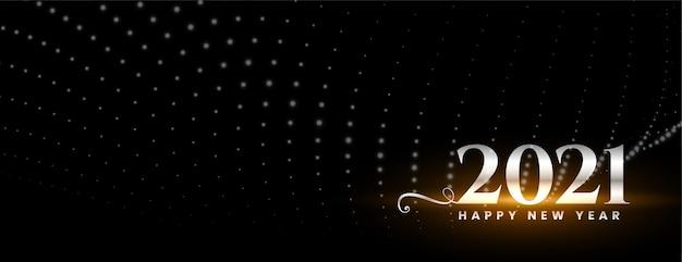 Brillante felice anno nuovo 2021 sul banner nero