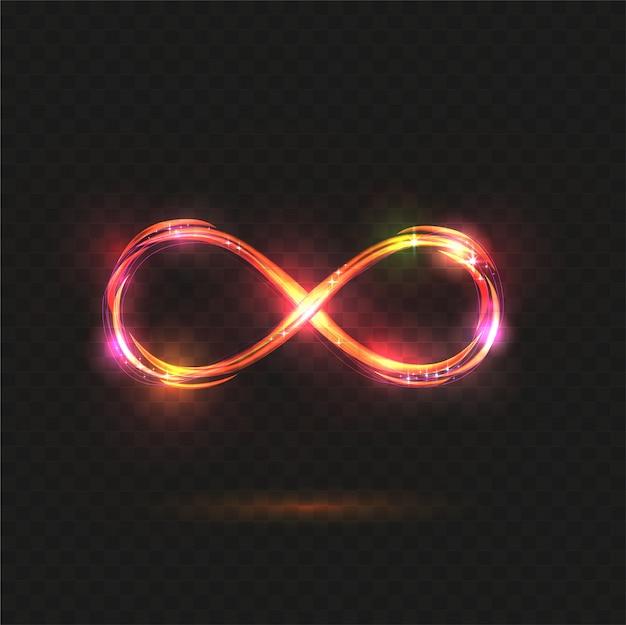 輝く無限大のシンボル。透明に輝く無限。