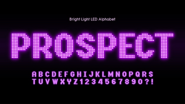Shining led light alphabet, extra glowing font.