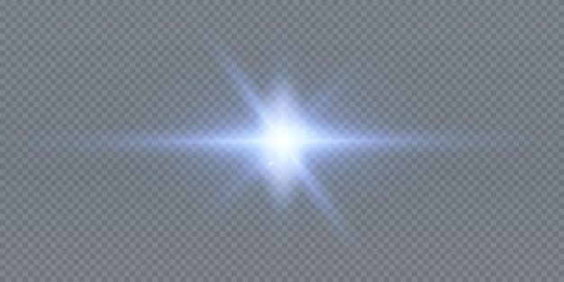 黒の背景に分離された輝くネオン星。エフェクト、レンズフレア、輝き、爆発、ネオンライト、セット。輝く星、美しい青い光線。図。
