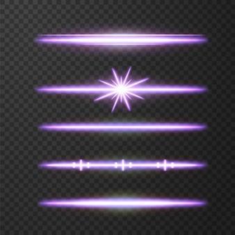 黒の背景に分離された輝くネオン星。エフェクト、レンズフレア、輝き、爆発、ネオンライト、セット。輝く星、美しい青い光線。 。
