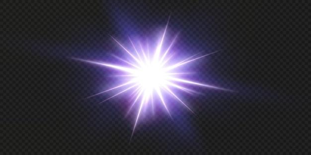 黒の背景に分離された輝くネオン星。エフェクト、レンズフレア、輝き、爆発、ネオンライト、セット。輝く星、美しい青い光線。