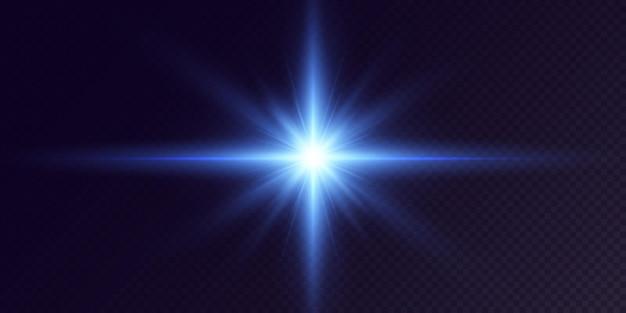 黒の背景に分離された輝くネオン星効果レンズフレア輝き爆発ネオンライト