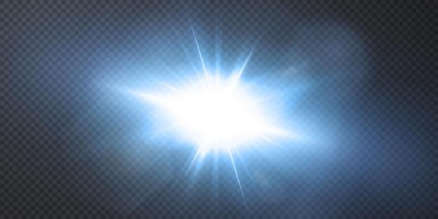 黒の背景に分離された輝くネオン星。