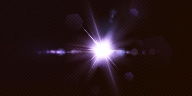 黒の背景に分離された輝くネオン星