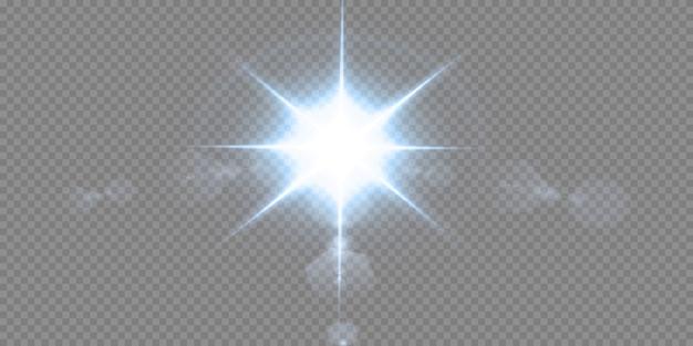 블랙에 고립 된 빛나는 네온 별