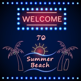 Shining neon welcome sign to beach party