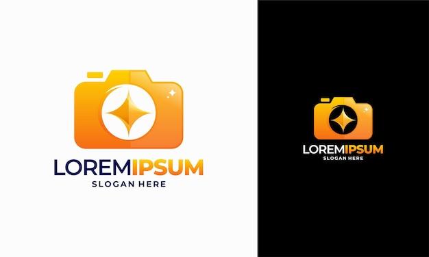 빛나는 사진 로고 디자인 개념 벡터, 반짝이는 카메라 로고 템플릿 아이콘 기호