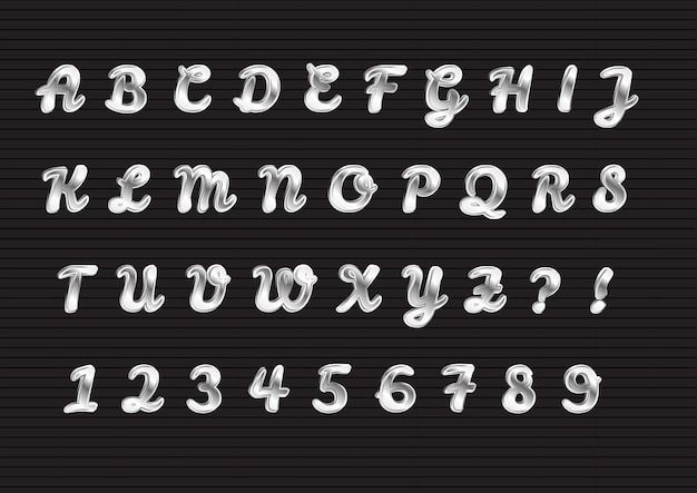 빛나는 실버 3d 알파벳 숫자 세트