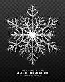 Shining silver snowflake isolated on transparent background.