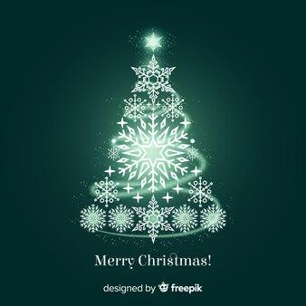 Shining snowflakes christmas tree background