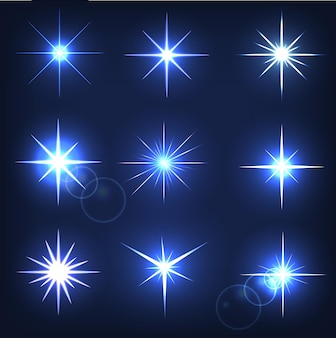 Shining star on a blue background
