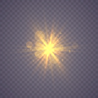 輝く星、ハイライト効果で太陽の粒子と火花、色ボケライトキラキラとスパンコール。暗い背景に透明。ベクトル、eps10スターバーストのほこりと輝きの分離。