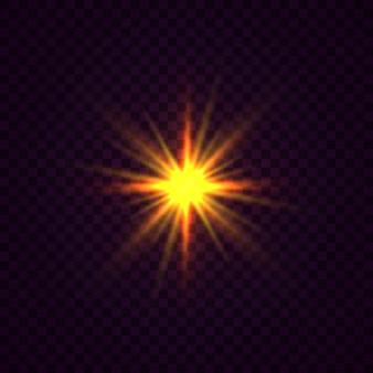 輝く星、太陽の粒子、そしてハイライト効果のある火花