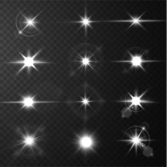투명한 표면에 분리된 빛나는 별