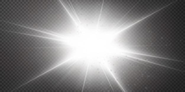 透明な白い背景で隔離の輝く星。エフェクト、グレア、ラディアンス、爆発、白色光、セット。星の輝き、美しい太陽のまぶしさ。