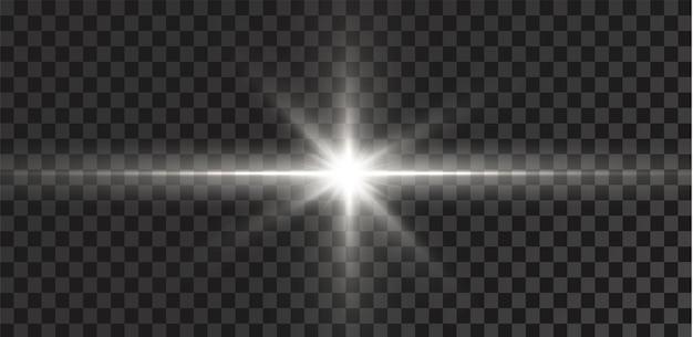 透明な白い背景に分離された輝く星効果グレア輝き爆発白