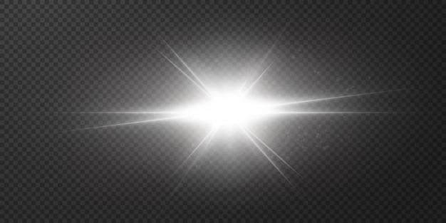 Shining stars isolated on a transparent white background. effects, glare, radiance, explosion, white light, set. the shining of stars, beautiful sun glare.