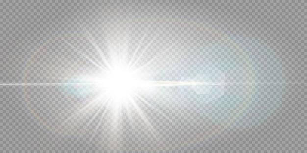 Shining stars isolated on a transparent white background. effects, glare, radiance, explosion, white light, set. the shining of stars, beautiful sun glare.  .