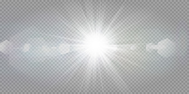 透明な白い背景に輝く星。