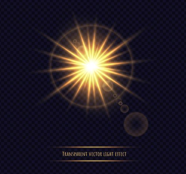 Shining sun flare isolated on dark transparent