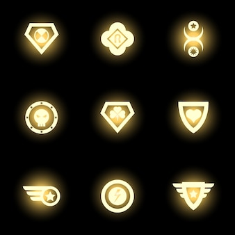 Shining superhero emblem