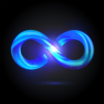 Shining volume infinity symbol. bright blue fusion swoosh sign