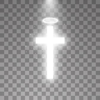 透明な背景に輝く白い十字と白いハローエンジェルリングと日光の特別なレンズフレアの光の効果。輝く聖十字架。図。