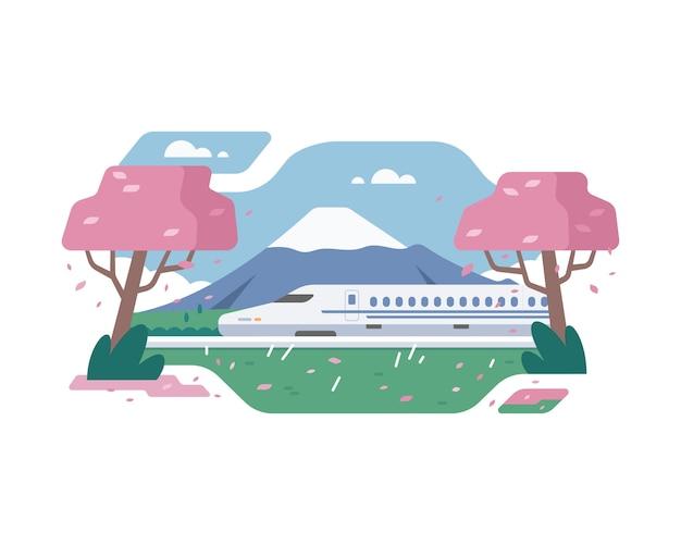 Shinkansen train at japan with fuji mountain background