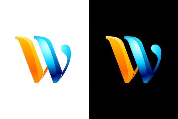 Shinny абстрактная буква w логотип