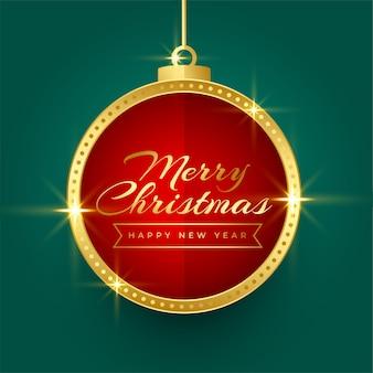 輝く黄金のクリスマスボールフレームの背景デザイン