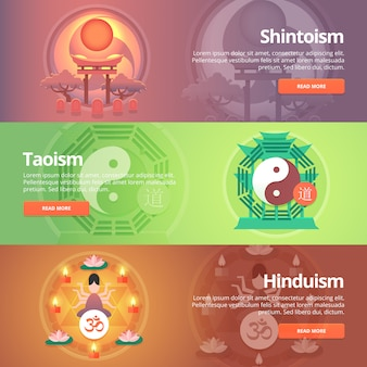 Shintoism. japanese religion. taoism. hinduism. buddhistic culture. tao principles. religion and confessions banners set.   concept.