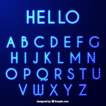 Shiny alphabet with light bulbs