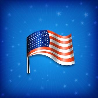 青色の背景色と光沢のあるアメリカの国旗