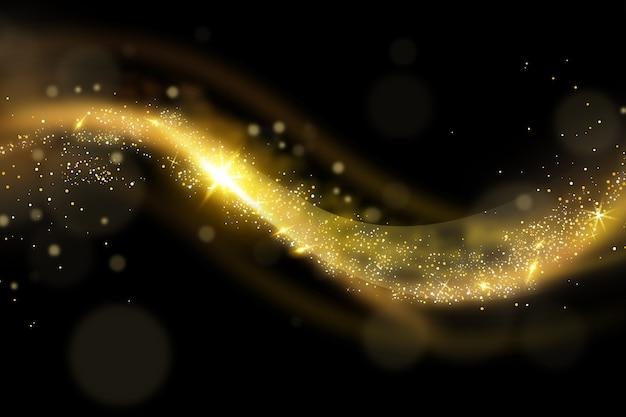 光沢とゴールドの波背景スタイル