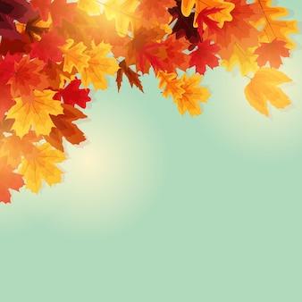 光沢のある秋の葉のバナーの背景。