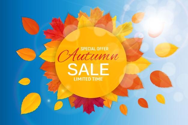Блестящие осенние листья продажа баннер. дисконтная карта для бизнеса